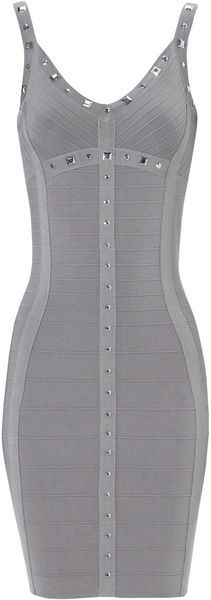 Jane Norman Bandage Stud Bodycon Dress in Silver