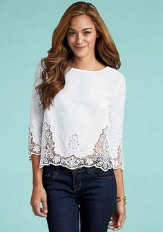 """Aliya Blouse - 40 to 42 bucks. ALLOY. 4 stars. only in white. three-quarter sleeve eyelet blouse that is 20"""" long. cotton."""