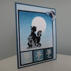 handcrafted card ... monochromatic blues ... sponged ombre night sky with masked off moon ... kanji in squates ... simple geisha silhouette image ...