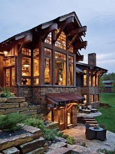 Modern design with timber. Love this design for my future house or lake house! Chalet House, Future House, My House, House Front, Log Cabin Homes, Log Cabins, Rustic Cabins, Rustic Homes, Mountain Cabins