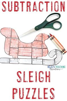 These subtraction Santa sleigh puzzles are great for 1st, 2nd, or 3rd grade kids in December. Use them for math centers, stations, review, early or fast finishers, Christmas Math Worksheets, Christmas Books For Kids, Thanksgiving Math, Halloween Math, 3rd Grade Classroom, Maths Puzzles, Critical Thinking Skills, Santa Sleigh, Math Facts