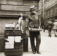 "vintage everyday: 30 Black and White Photos of New York City from the 1940s ~ Although this caption reads ""Silent Salesman, Philadelphia"""