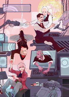 navnao: I love Stark family. #TonyStark #Jarvis #Vision #Dum-E   #Peter&Harley #fanart