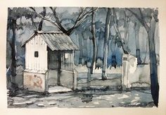 Abandoned shed with communist graffiti -watercolor art by Sushanto