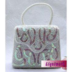 Designer White Sequined Beaded Wedding Bridal Party Evening Bag Purse  SKU-1110402