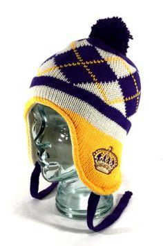Los-Angeles-Kings-NHL-Vintage-CCM-Argyle-Laplander-Toque-Knit-Pom-Beanie-Hat-Cap