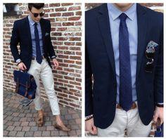 Primark Blue Bag W/ Leather Details, H&M Ecru Tailored Trousers, H&M Blue Suit Jacket, Zara Brown Leather Mocassins W/ Tassels, H&M Blue Striped Shirt, H&M Blue Tie W/ Red Polka Dot Motive, Primark Brown Leather Belt, Antony Morato Blue Pocketsquare W/ Fl