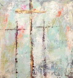 Kristi Hall Art by KristiHallArt Cross Art, Easter Art, Scripture Art, Bible, Cross Paintings, Texture Art, Christian Art, Religious Art, Painting & Drawing