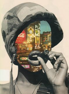 The Home Guard Another political collage is showing a woman in an army outfit smoking a cigar. but with no face and city lights. This poster may be supporting feminism during world war Protest Kunst, Protest Art, Collage Kunst, Collage Art, Photomontage, Dadaism Art, Art And Illustration, Face Collage, Political Art