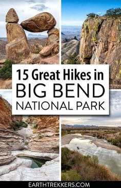 15 best hikes in Big Bend National Park: Santa Elena Canyon, Ernst Tinaja, South Rim, Emory Peak, Lost Mine Trail, Window Trail, Balanced Rock, and more. #bigbend #nationalpark #hiking