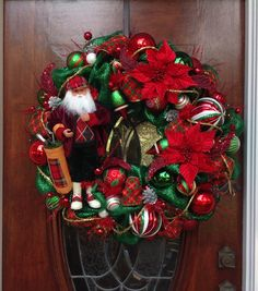 Large Traditional Christmas Wreath with Golfer by HertasWreaths on Etsy