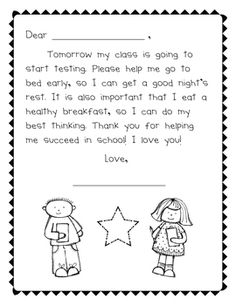 Its so important for children to go to bed early not just for testing but every other day too. But i like this idea. Parent Teacher Communication, Teacher Education, Teacher Tools, Teacher Resources, Notes To Parents, Letter To Parents, Parents As Teachers, Letter To Teacher, Parent Letters