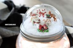How to make a Mason Jar Lid Snow Globe for Christmas using a clear plastic ornament. Easy for everybody to do! DIY Christmas gift in a jar idea. Clear Christmas Ornaments, Clear Plastic Ornaments, Christmas Snow Globes, Christmas Mason Jars, Christmas Love, Diy Christmas Gifts, Christmas Stocking, Christmas Cookies, Christmas Ideas