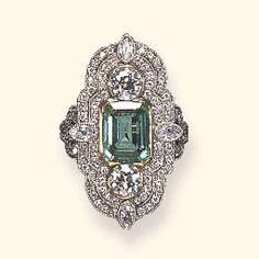 Belle Epoque Emerald and Diamond Ring - c. 1900 - Christie's - @~ Mlle