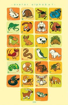 Avatar alphabet, text, animals, cute; Avatar: the Last Airbender