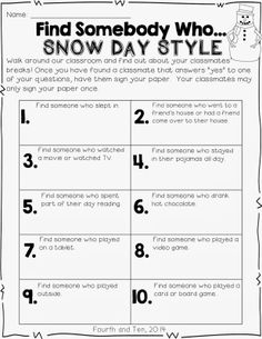 Find Somebody Who Snow Day Style Freebie...get your kiddos up  and moving when you come back from an unexpected break. :)