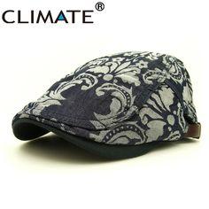 CLIMATE Spring Autumn Women Men Denim Artist Flower Flat Berets Caps Hat for Adult Unisex Adjustable