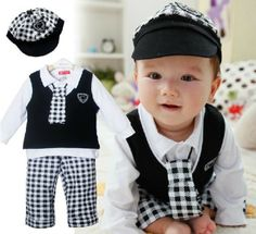 Retail new arrive baby clothing set boy hat+tie+t-shirt+vest+pants suit winter infant clothes spring gentleman suit for children $17.20