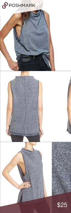 Free People Madrid cowl neck top Sleeveless cowl neck. Gray and has a nice looser fit Free People Tops Tank Tops