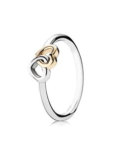 PANDORA Ring - Sterling Silver   14k Gold Heart to Heart Jewelry    Accessories - Bloomingdale s 1a21491cb32