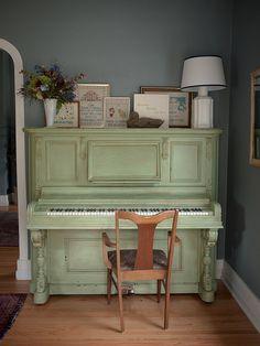 Green Piano w flourish and found arrangement