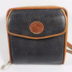 VINTAGE 90's Dooney & Bourke USA Cross Body Bag Black Clutch Wallet Leather RARE #DooneyBourke #Vintage