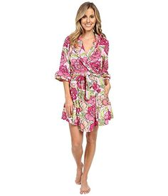 Betsey Johnson Women's Vintage Terry Robe Boho Poppy Pink…