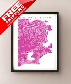 Rio De Janeiro Map Print Brazil Art Poster by CartoCreative, $20.00