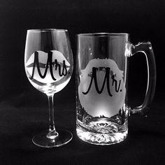 Personalized Beer Mug and Wine Glass, Beard, Beer Mug, Etched Beer Mug, Etched…