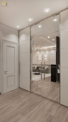 Photo design project of an apartment interior Moscow, Leninsky Prospect, building 105 sq. Home Room Design, Interior Design Living Room, House Design, Interior Decorating, Wardrobe Door Designs, Wardrobe Design Bedroom, Flur Design, Bedroom Cupboard Designs, Dressing Room Design