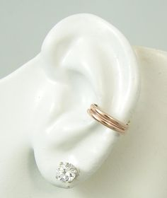 Ear Cuff, Rose Gold, Ear Band, No piercing, Cartilage Earcuff, Wrap Earring, Fake Conch Earring, Simple Ear Cuff, Double Band, Rose EDHRRGF