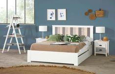 Lit 140 x 190 cm avec tiroir MOANA pas cher Blanc, bleu et gris - 😍Découvrir ici - #meubleschambre #Litpascher #LitAdulte #BUT #LitBUT #Chambre #Lit
