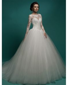 Bridal Gown Vintage Lace Elegant Long Sleeve Wedding Dress Ball Gown Country Tulle White Sexy Princess Wedding Dresses 2016