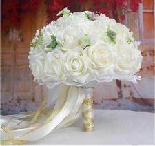 Handmade White Rose Hold Flower Silk Pearl Satin Posy Wedding Bridal Bouquet New