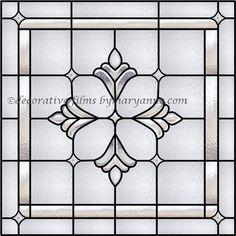 Decorative Window Films by Mary Anne offers Bradham Bevel Window trapezoid stained glass decorative films, clings and stick ons for windows and removable wall murals. Privacy window film and window wallpaper custom made to fit your window. Stained Glass Window Film, Leaded Glass Windows, Faux Stained Glass, Stained Glass Patterns, Glass Panels, Window Clings, Window Coverings, Window Treatments, Beveled Glass
