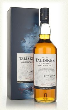 (A-) Talisker 57° North (Highlands/Isle of Skye): Fruity, spicy and smoky on the nose. The smoke surges on the palate and lingers as the finish fades. A drop or two of water softens the alcohol and allows the spicy flavors to develop on the palate.