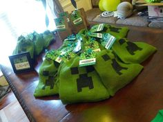 Hand painted #minecraft favor bags! I designed and printed for my little guys birthday! I make all kinds of custom invitations plus more! Looking for a custom invitation design for your birthday party theme? Contact me at info@fox-t.com. Thanks!