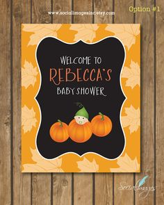 Welcome Sign Baby Shower Printable Sign- PUMPKIN Baby Shower - Welcome Sign Fall Baby Shower - Lil Pumkin Baby Shower Welcome Baby Showers, Baby Shower Welcome Sign, Baby Shower Signs, Baby Shower Fall, Fall Baby, Baby In Pumpkin, Reveal Parties, Baby Shower Printables, Shower Invitations