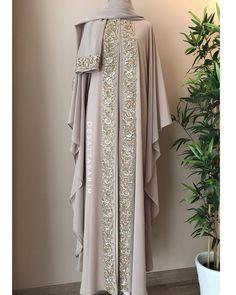 No photo description available. Kebaya Dress, Caftan Dress, Muslim Dress, Muslim Wedding Dresses, Model Baju Hijab, Kaftan Pattern, Hijab Style Tutorial, Niqab Fashion, Muslim Women Fashion