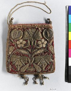 Bag Date: early century Culture: British Medium: Metal thread on silk Dimensions: L. 5 inches x 13 cm) Classification: Textiles-Embroidered Vintage Purses, Vintage Bags, Vintage Handbags, Vintage Shoes, Beaded Purses, Beaded Bags, Medieval Embroidery, Sweet Bags, Lesage