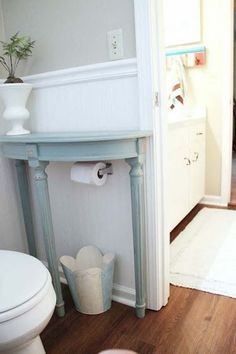 Place a half-table or corner table to maximize your space in the bathroom - 37 Home Improvement Ideas