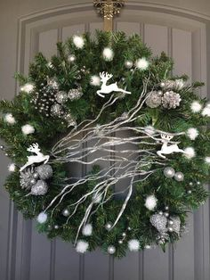 Silver Christmas Wreath, White and silver Christmas Wreath, White Christmas Wreath, Silver Holiday Wreath Get your sparkle on! White and silver Christmas Wreath with a twist of contemporary and leaping whit Silver Christmas, Green Christmas, Christmas Crafts, Christmas Holiday, White Wreath, Diy Wreath, White Christmas Decorations Diy, Contemporary Christmas Decorations, Christmas Floral Designs
