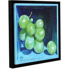 ArtWall Paige Wallis Green Grapes Gallery-wrapped Floater-framed Canvas, Size: 36 x 36, Green