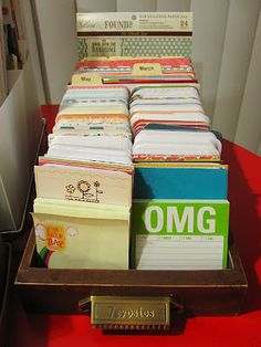 7 Gypsies Library Drawer used to organize Project Life cards - nice to know these drawers are the perfect size!
