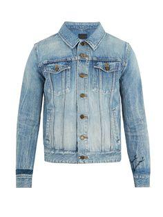 SAINT LAURENT Distressed Denim Jacket. #saintlaurent #cloth #jacket