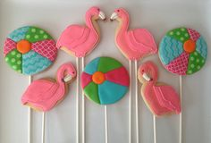 Flamingo Beach party cookies by Oh, Sugar!