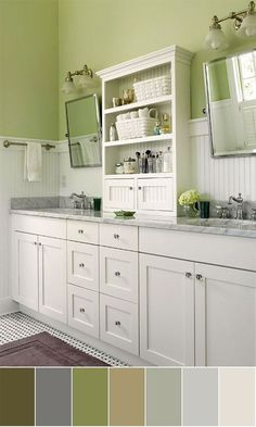 The open shelves on the upper cabinet is beautiful with the beadboard backing... also this is a nice color scheme