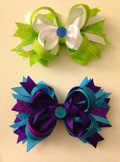 Monster Inc Stacked Hair Bows by LillyBeanBowtique on Etsy, $7.50