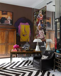 Brazilian designer Sig Bergamin combines saturated colors with a variety of patterns to decorate his own pied-à-terre in Paris shot by William Abranowicz for Elle Decor Interior Inspiration, Design Inspiration, Décor Boho, Interior Decorating, Interior Design, Decorating Ideas, Paris Apartments, Parisian Apartment, Decoration Design