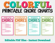 Get ready for summer with these fun editable chore charts! Colorful Customizable Chore Chart Pack - Instant Download - $3
